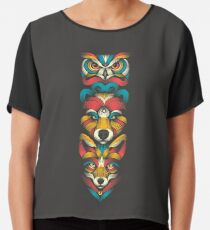 Totem der Waldtiere Chiffontop