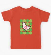 Retro Flower Daisy Chick On Green Dots Kids Tee