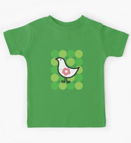 Retro Flower Daisy Chick On Green Dots Kids Clothes