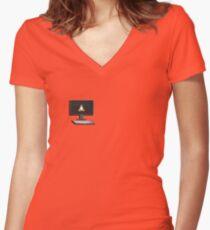 Computer geek minimalist design Women's Fitted V-Neck T-Shirt