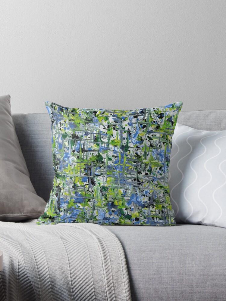 «Colorido verde y azul Throw Pillow» de Olga Chetverikova