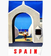 Spain, Fisherman - Vintage Travel Poster Poster