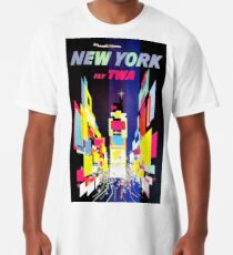 TWA New York, Times Square - Vintage Travel Poster Long T-Shirt