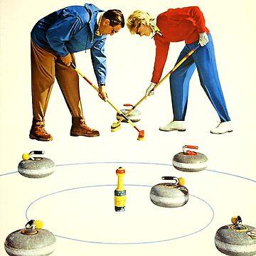 Grindelwald, Schweiz Suisse Switzerland, Curling - Vintage Sports Travel Poster by Goshadron