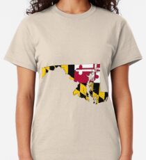 Maryland Map With Maryland State Flag Classic T-Shirt