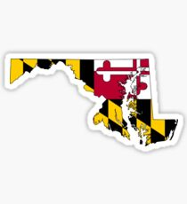 Maryland Map With Maryland State Flag Sticker