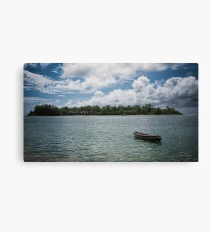 Canoeing at Muri Beach Canvas Print