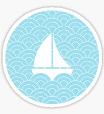 sailing boats on waves, white and pastel blue II Sticker