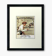Be Kind to Animals - Vintage Poster Framed Print