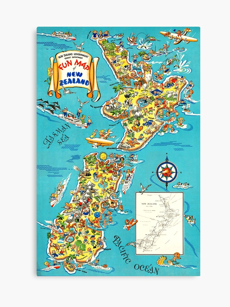 Travel Map New Zealand.Fun Map Of New Zealand Travel Poster Canvas Print