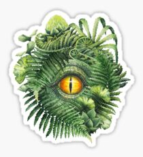 Watercolor dinosaur eye and prehistoric plants Sticker
