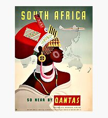 South Africa Qantas - Vintage Travel Poster Photographic Print