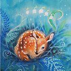Cute dreaming deer by Maria Tiqwah by Maria Tiqwah