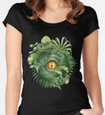 Watercolor dinosaur eye and prehistoric plants Women's Fitted Scoop T-Shirt