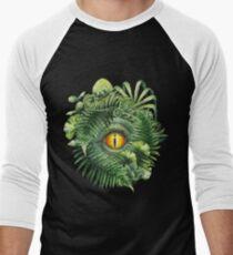 Watercolor dinosaur eye and prehistoric plants Men's Baseball ¾ T-Shirt
