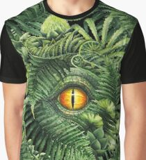 Watercolor dinosaur eye and prehistoric plants Graphic T-Shirt