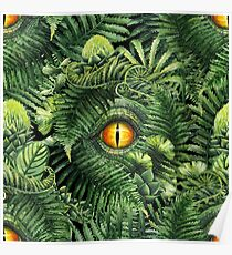 Watercolor dinosaur eye and prehistoric plants Poster