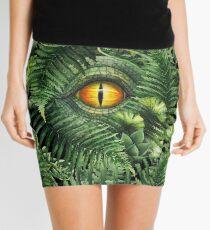 Watercolor dinosaur eye and prehistoric plants Mini Skirt