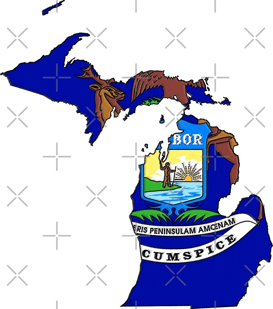 Michigan Map With Michigan State Flag by Havocgirl