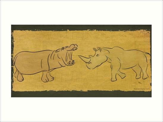 Gentle Giants - Rhino and Hippo Drawing on Tribal Pattern by ibadishi