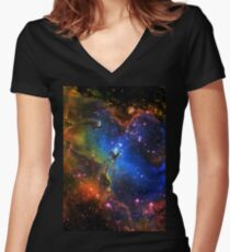 Galaxy Eagle Women's Fitted V-Neck T-Shirt