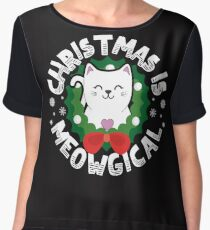 Christmas Is Meowgical - Funny Cat Holiday Design Women's Chiffon Top