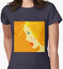 Sunny blonde girl in a water paint T-Shirt