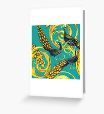 gold plant and peacock  Greeting Card