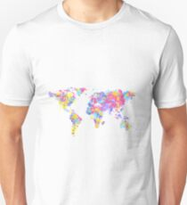 World map made out of multicoloured watercolour drops Slim Fit T-Shirt