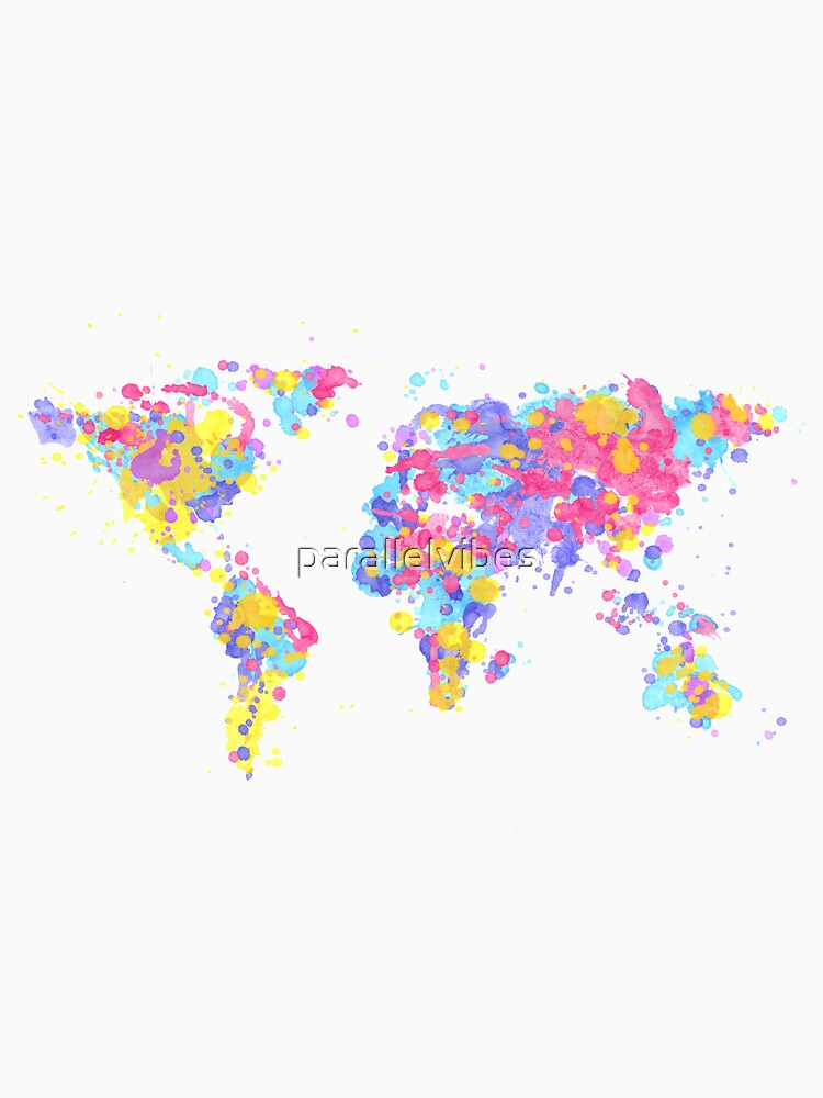 World map made out of multicoloured watercolour drops by parallelvibes