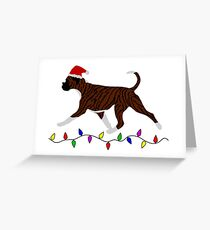 Boxer (Brindle and White) Christmas Card Greeting Card
