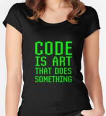Code Is Art That Does Something Funny Computer Programming Coding Gift Women's Fitted Scoop T-Shirt