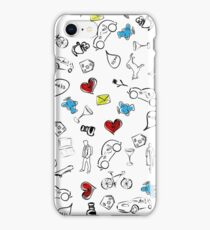 Usual life sketch seamless pattern. iPhone Case/Skin