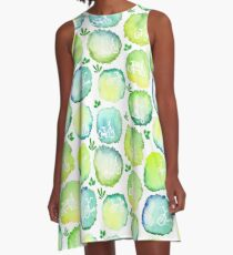 Seamless watercolor pattern of round stains with bikes A-Line Dress