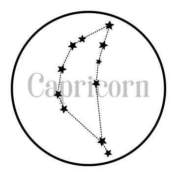 Capricorn zodiac constellation (white) by EleYeah