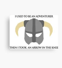 Skyrim Helmet - Arrow in the knee Canvas Print