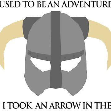 Skyrim Helmet - Arrow in the knee by KipItSimple