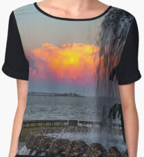 Sunset by the Pineapple Fountain Women's Chiffon Top