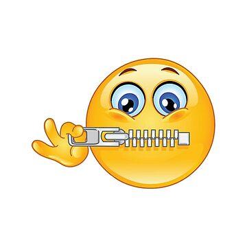 Zipper Mouth Face Emoji Lips Sealed Secret Quiet by stevesemojis