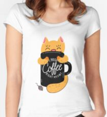 I Need Coffee Right Meow - Funny Cat Design Women's Fitted Scoop T-Shirt