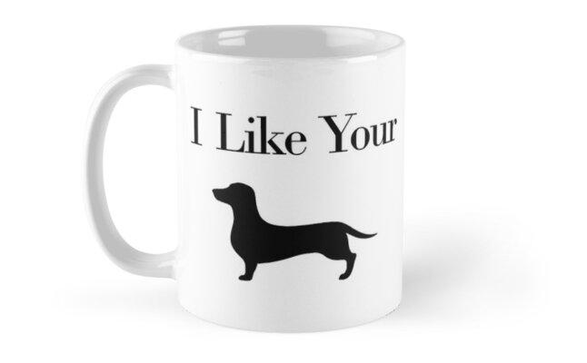Adorable 11 oz Black Ceramic Tea Snuggle With Dachshund Dachshund Coffee Mug