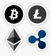 Cryptocurrency Logos Litecoin Bitcoin Ripple Ethereum Sticker