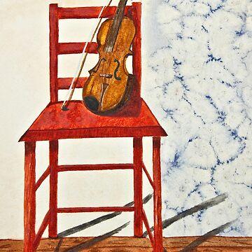 Violin in Repose Watercolor by joyfuldesigns55