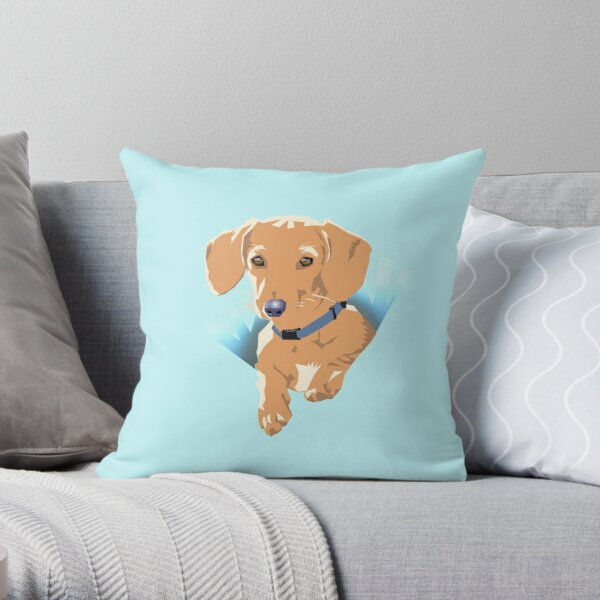 Pocket Puppy Blue aqua Throw Pillow