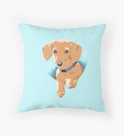 Pocket Puppy Blue aqua Throw Pillow