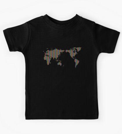 Rainbow Mosaic World Map Kids Clothes