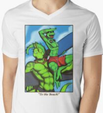 """To the Beach!"" Men's V-Neck T-Shirt"