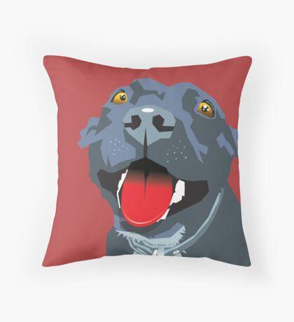 Black Staff Staffy Throw Pillow
