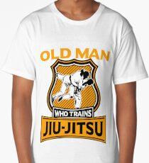 Never Underestimate an Old Man who Trains Jiu Jitsu | brazilian jiu jitsu | jiu jitsu apparel | jujitsu shirts | bjj | bjj shirt | bjj gift | martial arts shirt | mma shirt Long T-Shirt