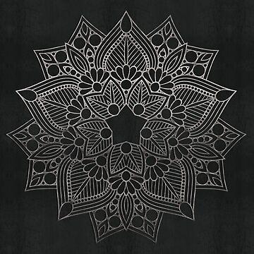 Steel Grey Mandala Flower by SweetSapling